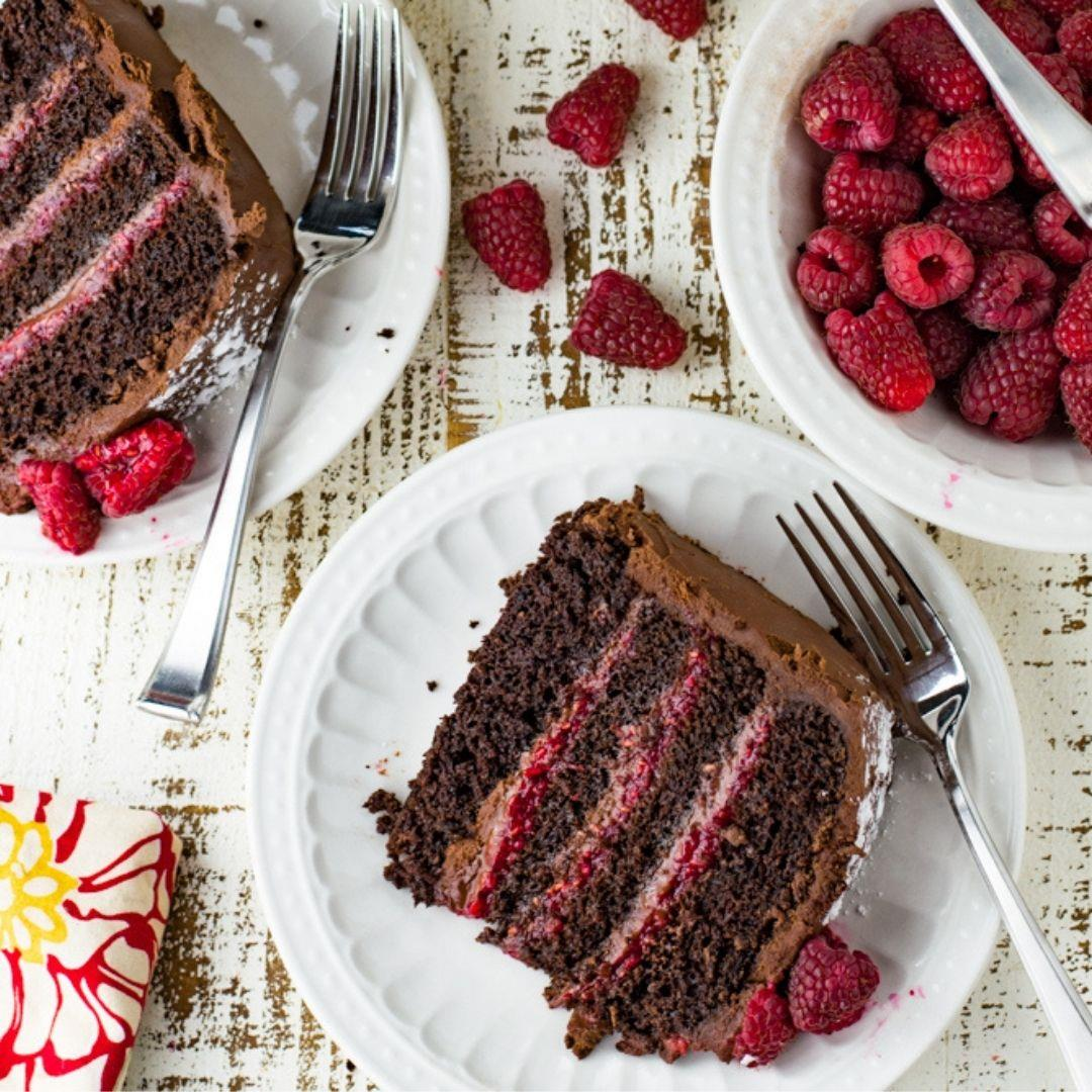 Decadent Layered Chocolate Raspberry Cake
