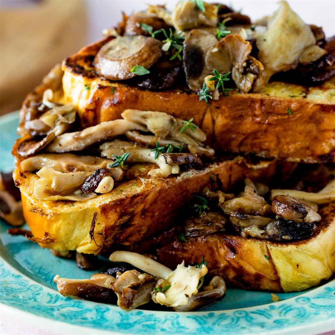 Savory French Toast with Garlicky Mushrooms & Thyme