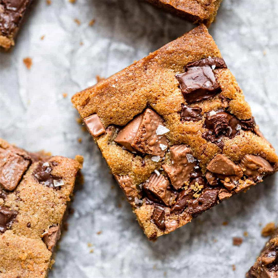 Chewy Chocolate Chunk Cookie Bars (UK Measurements)
