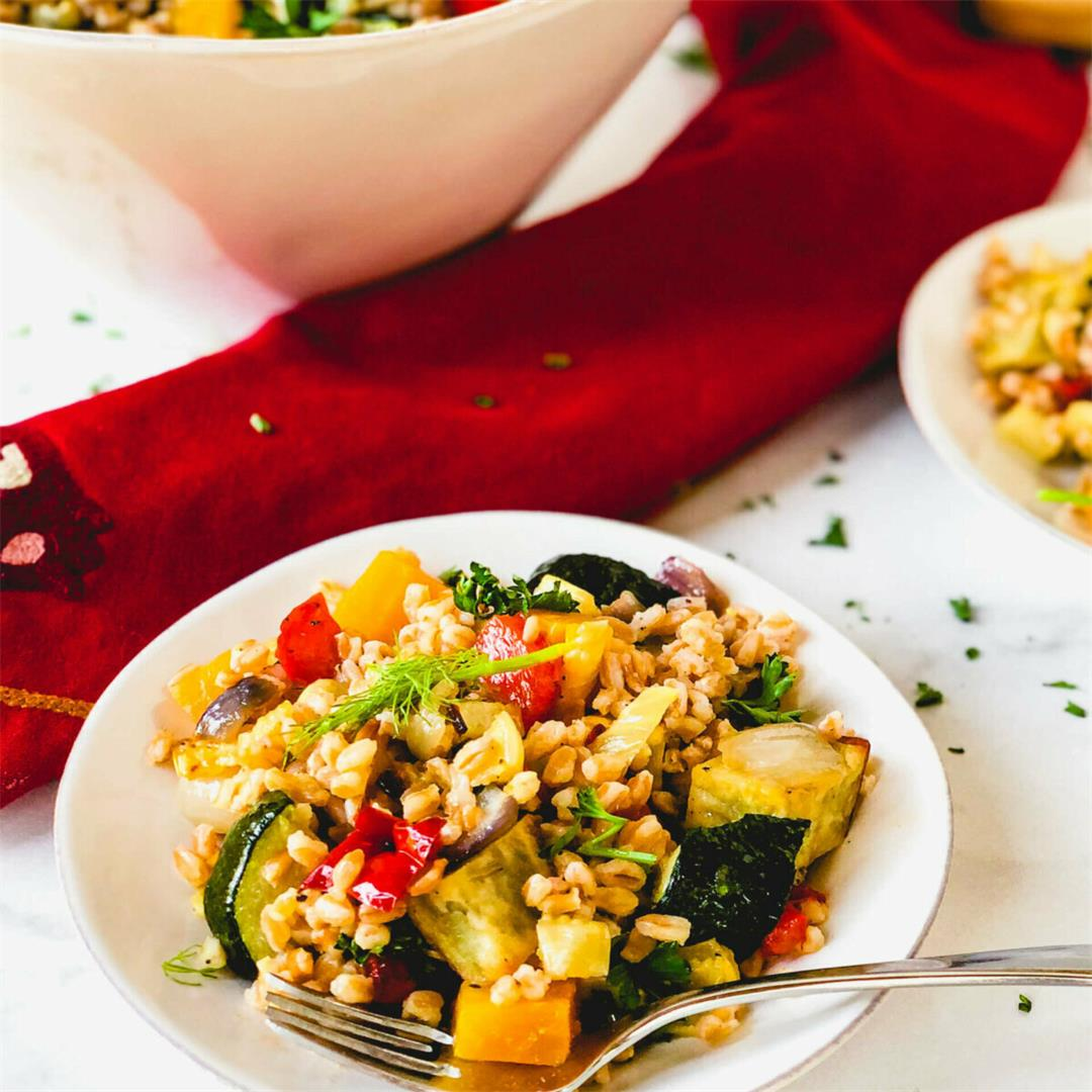 Farro and Roasted Vegetables Salad with Orange Dressing