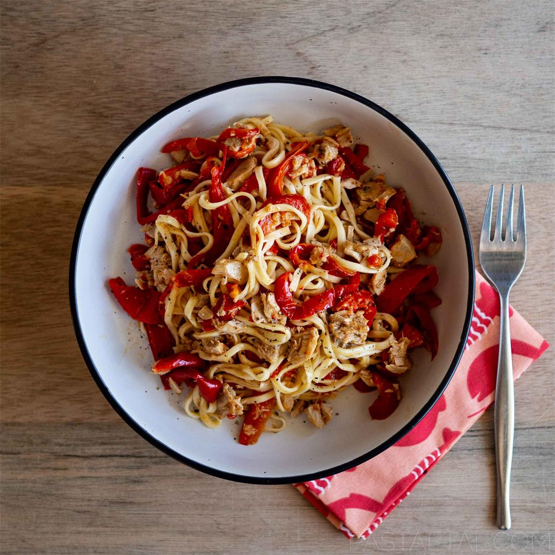 Spaghetti alla Chitarra with Capsicum and Homemade Tuna in Oil