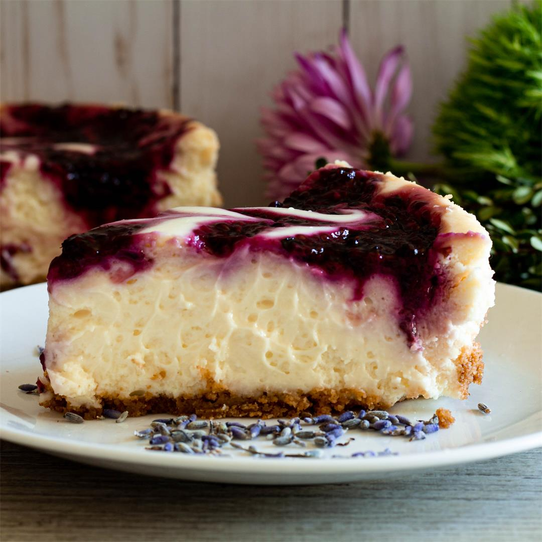 Cheesecake With Blackberry Lavender Swirl