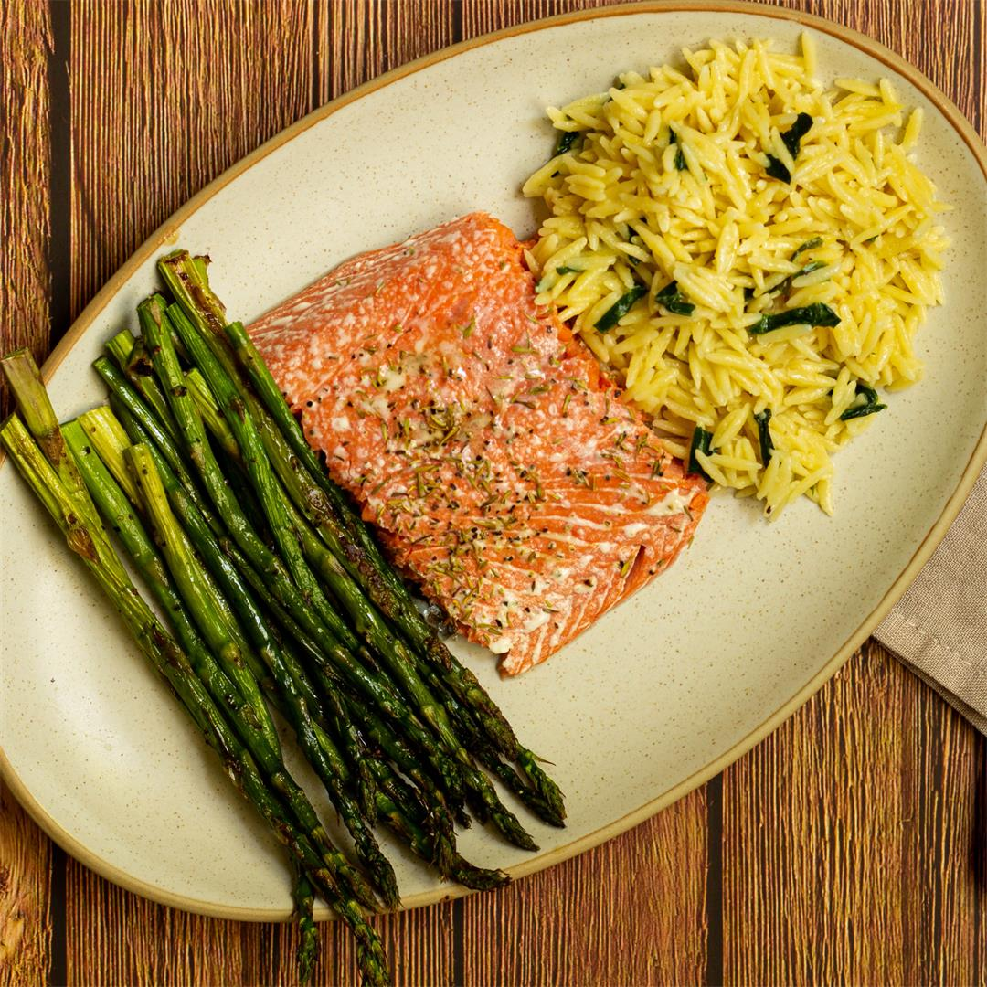 Sheet Pan Salmon and Asparagus with Orzo