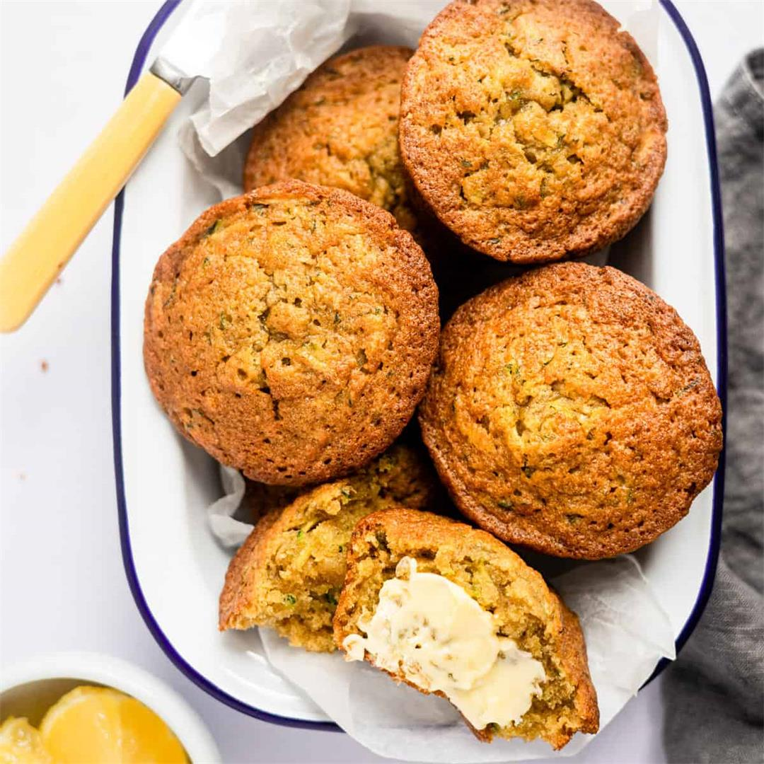 Healthy Lemon Courgette Muffins (Zucchini Muffins)
