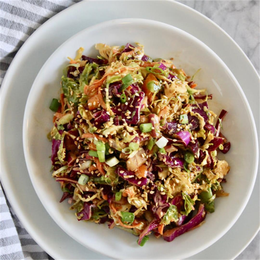 Asian Crunch Shredded Brussels Sprouts Salad