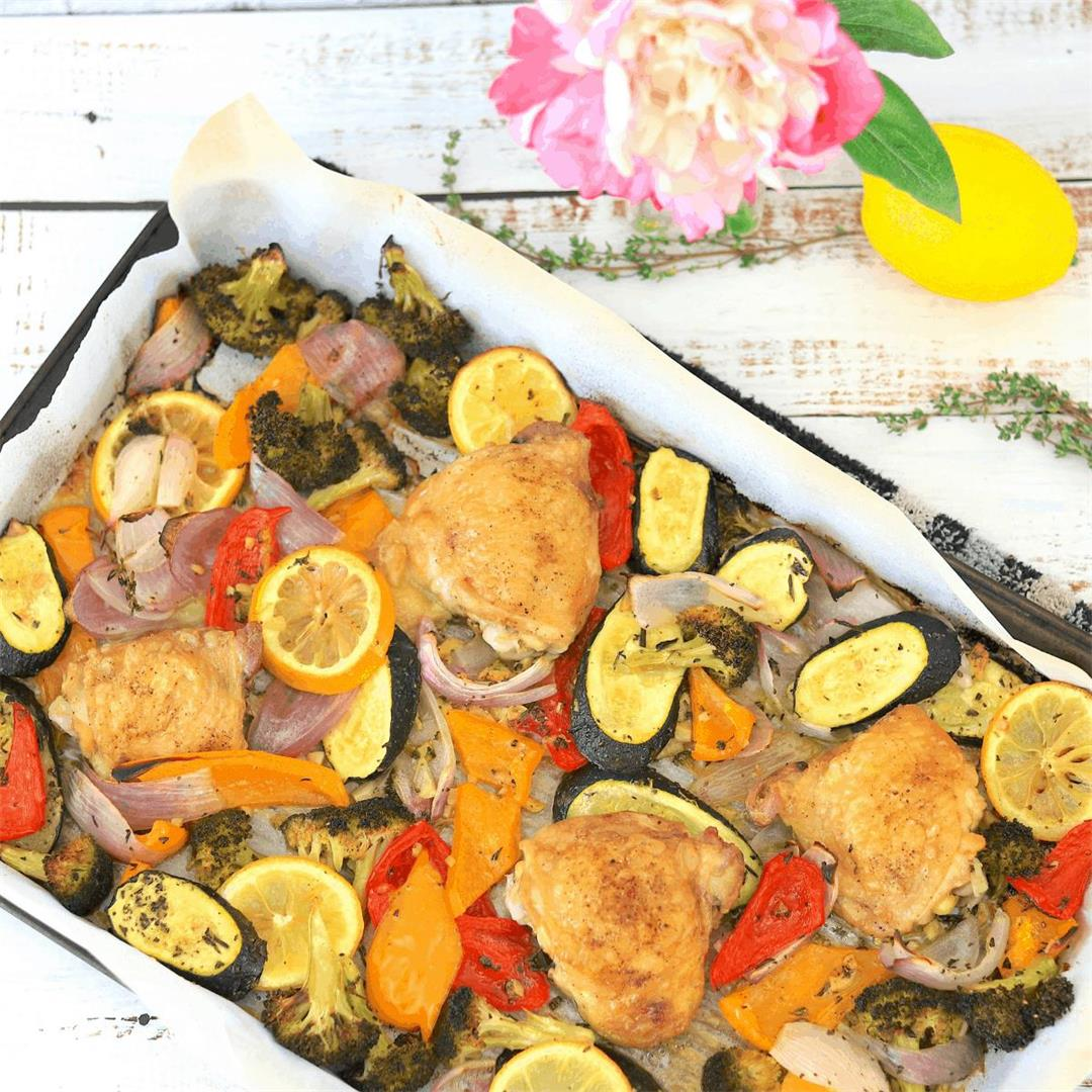 Low Carb Sheet Pan Chicken with Veggies and Fresh Herbs