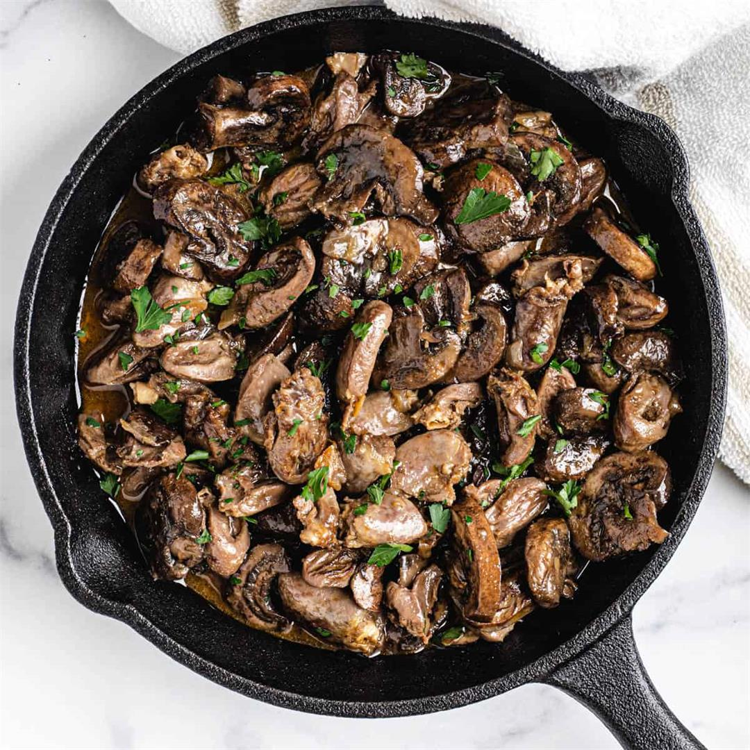 Chicken Hearts with Mushrooms