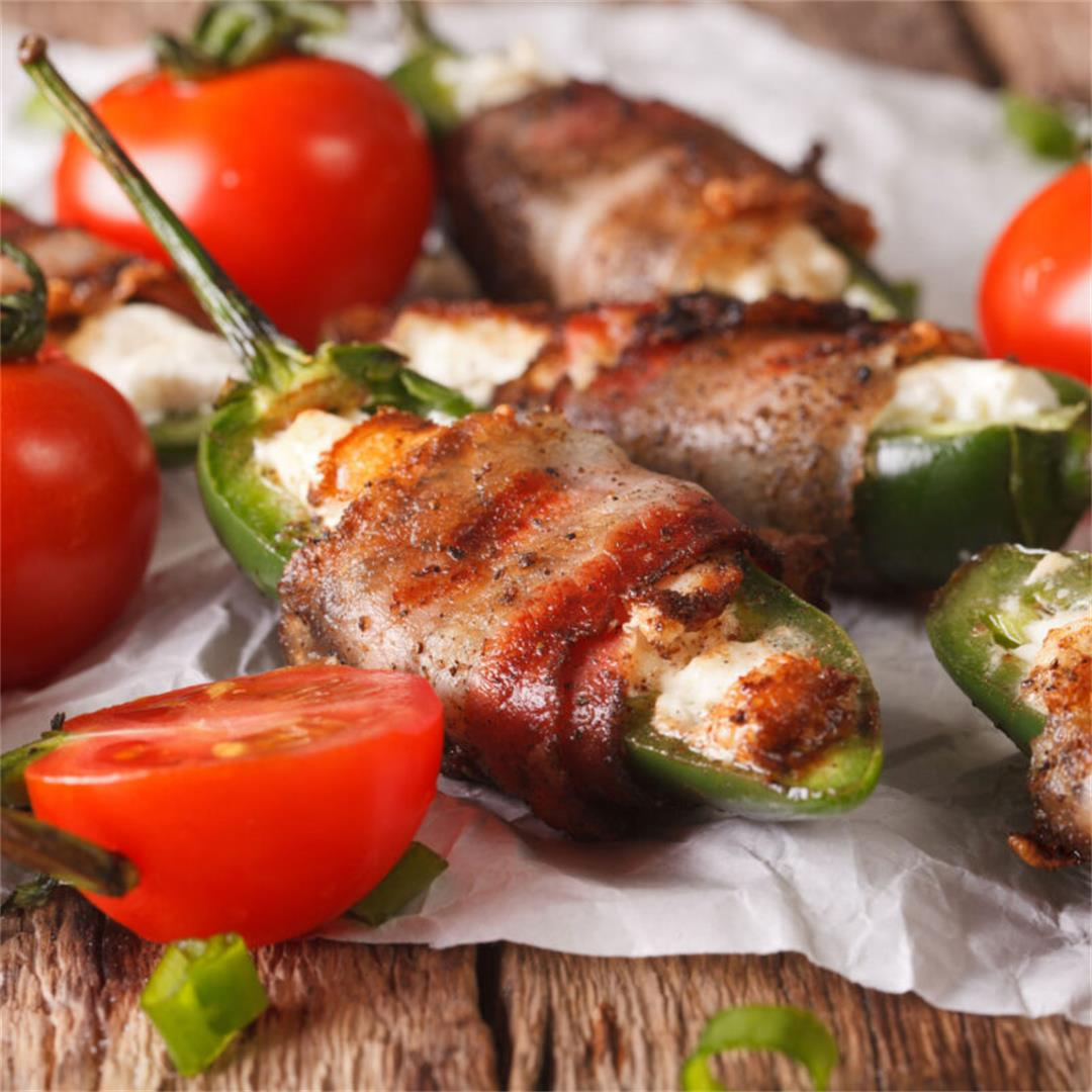 Bacon Wrapped Stuffed Jalapeno Poppers