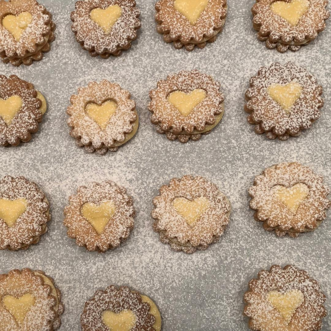 Linzer Cookies with homemade Egg Liqueur