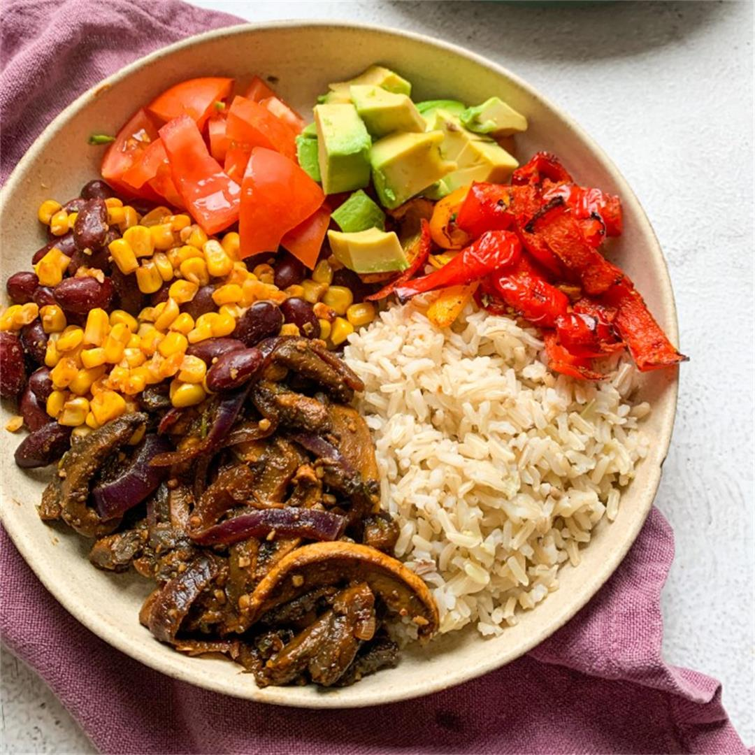 "Vegan Burrito Bowl with Mushroom ""meat"""