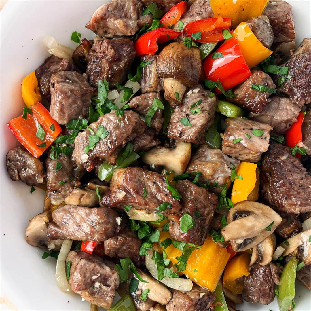 Air Fryer Steak Tips with Peppers, Onions & Mushrooms