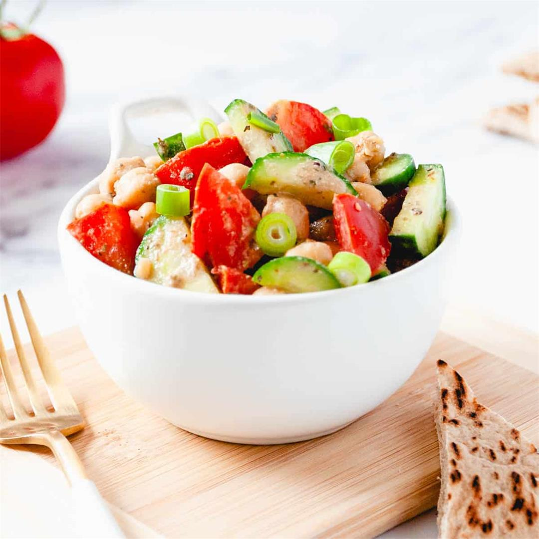 Balsamic Chickpea, Tomato & Cucumber Salad (Vegan & Oil-Free)