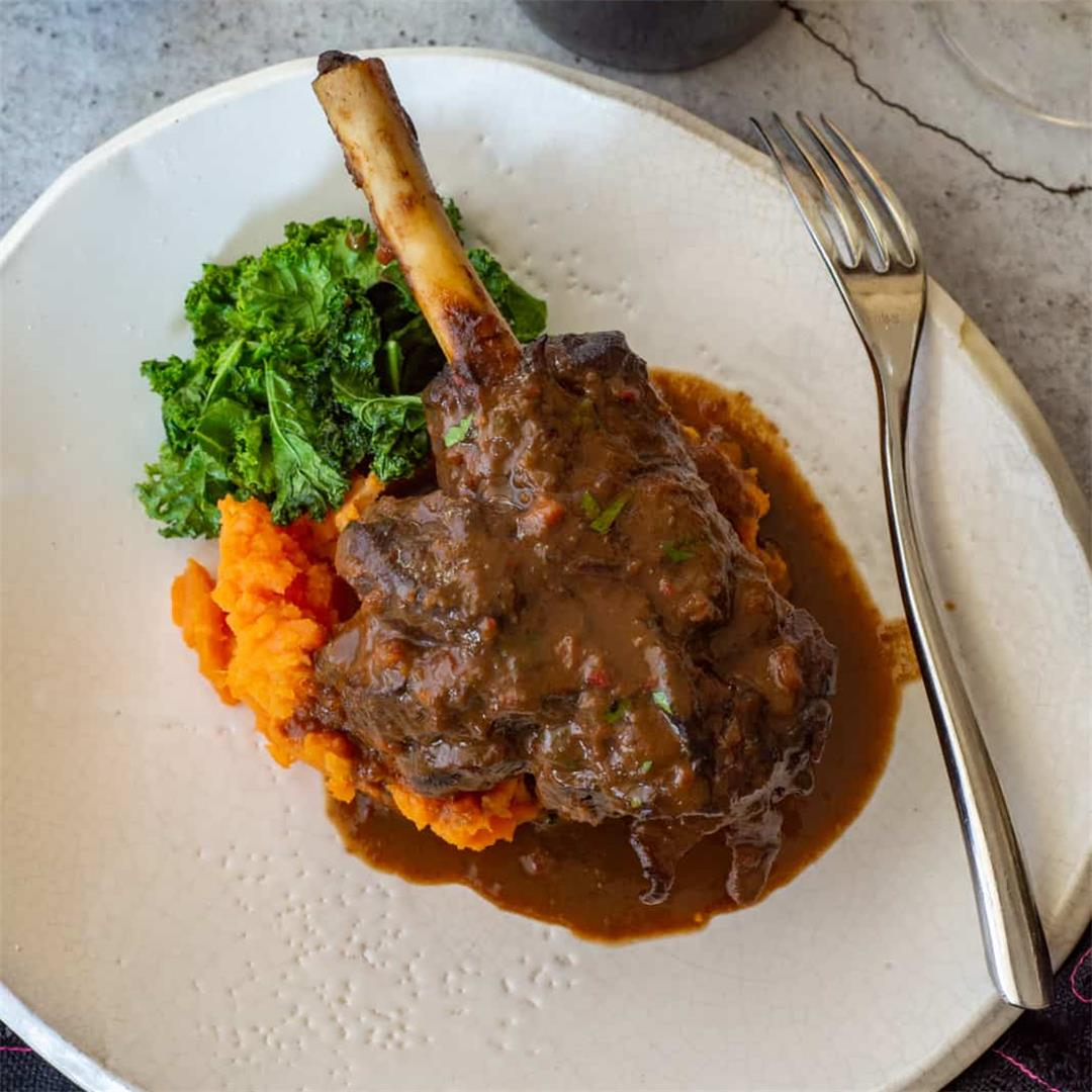 Red Wine & Chocolate Braised Lamb Shanks