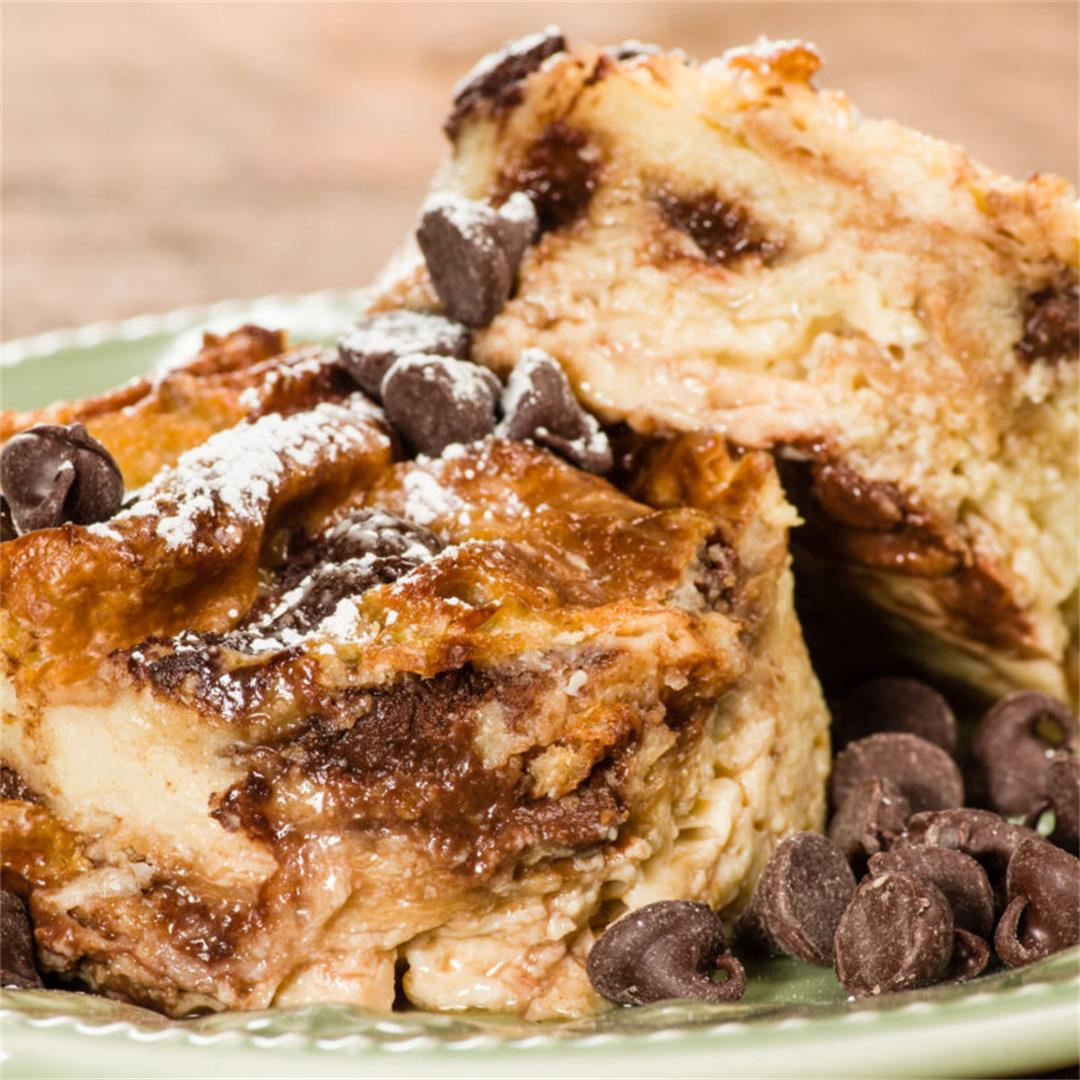 Oven Baked Chocolate Chip Bread Pudding