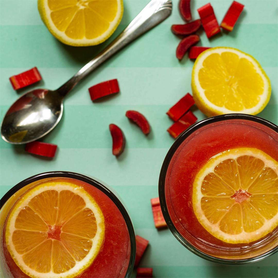 Lemonade Sweetened with Rhubarb Puree