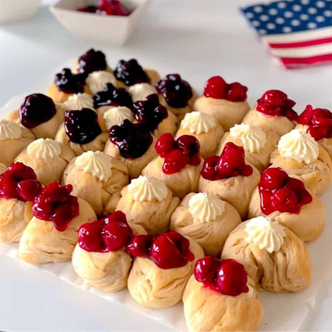 EASY American Flag Cheesecake Biscuit Bombs
