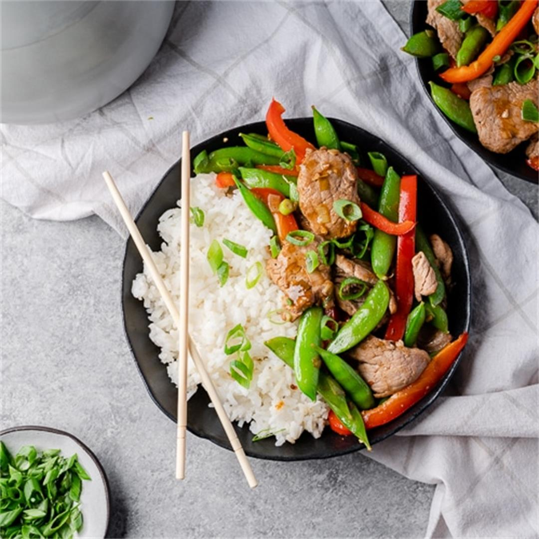 Simple Pork Stir Fry with Snap Peas