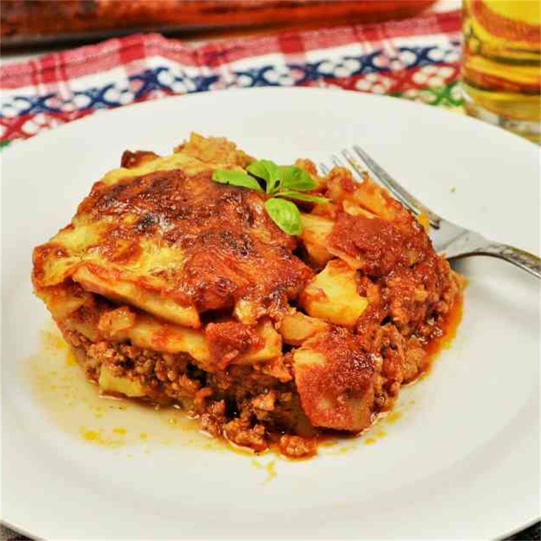 Easy Potato Moussaka Recipe-With Pork Mince And Tomato Sauce