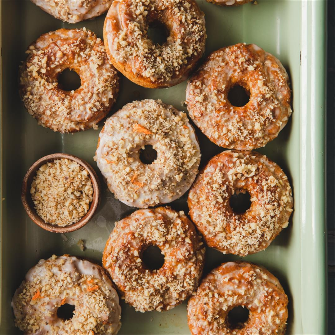 Gluten Free Carrot Cake Donuts with Walnuts and Honey
