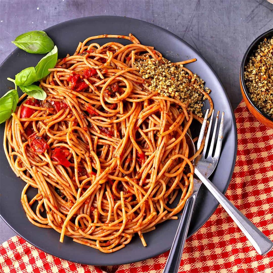 speedy, spicy spaghetti arrabbiata (plant-based)