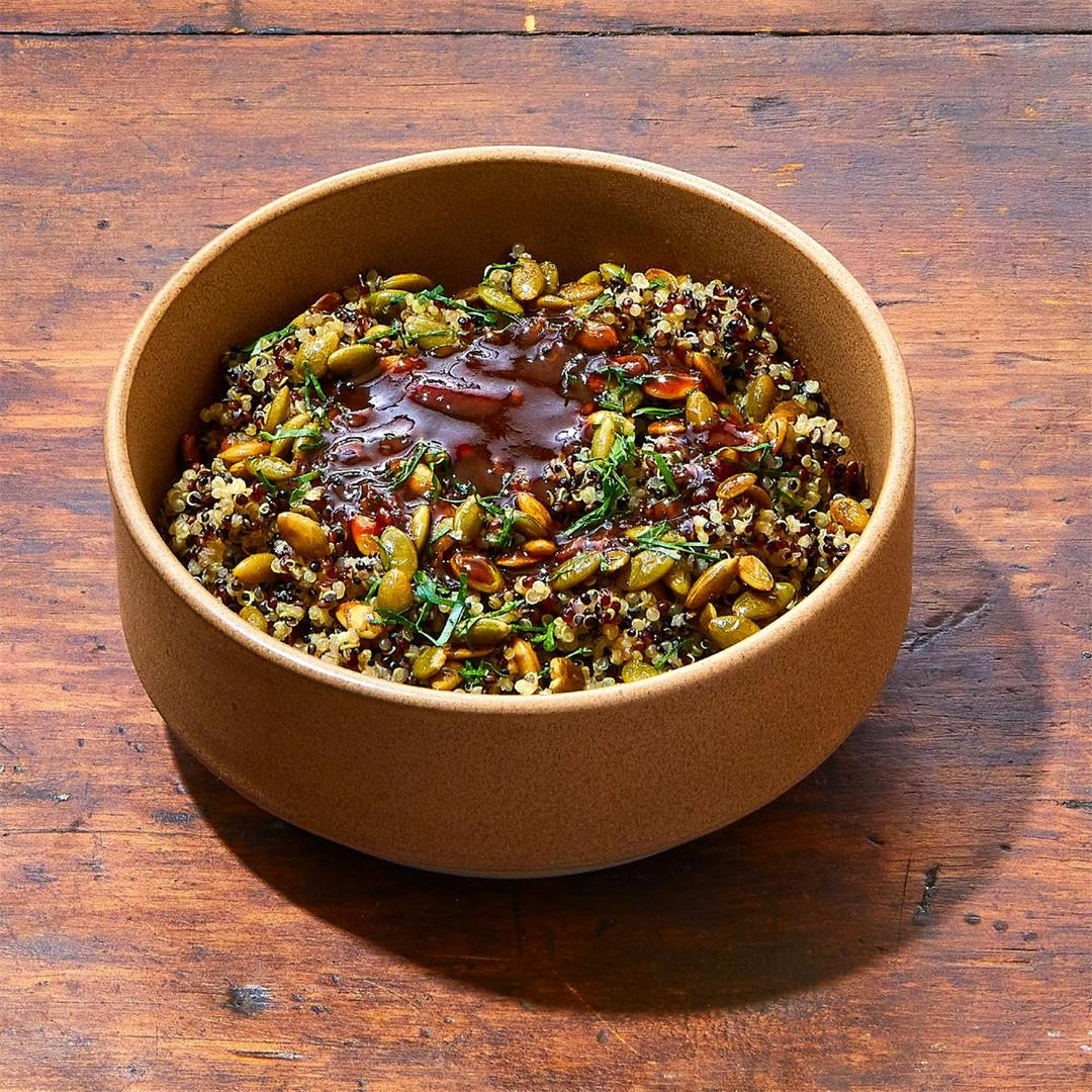 Steamed quinoa with toasted pepitas, parsley, and Thai drizzle