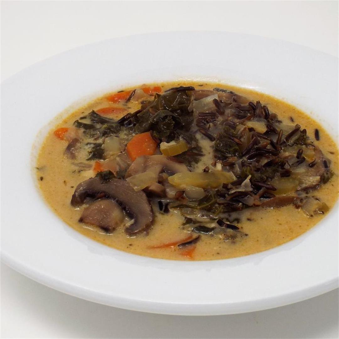 Mushroom, Wild Rice, and Coconut Soup