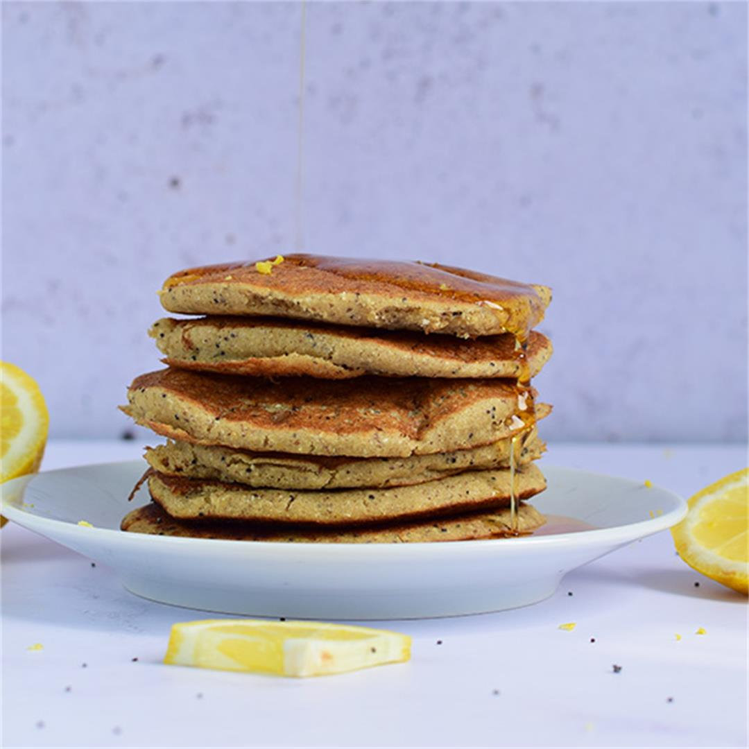 Lemon Poppy Seed Vegan Pancakes