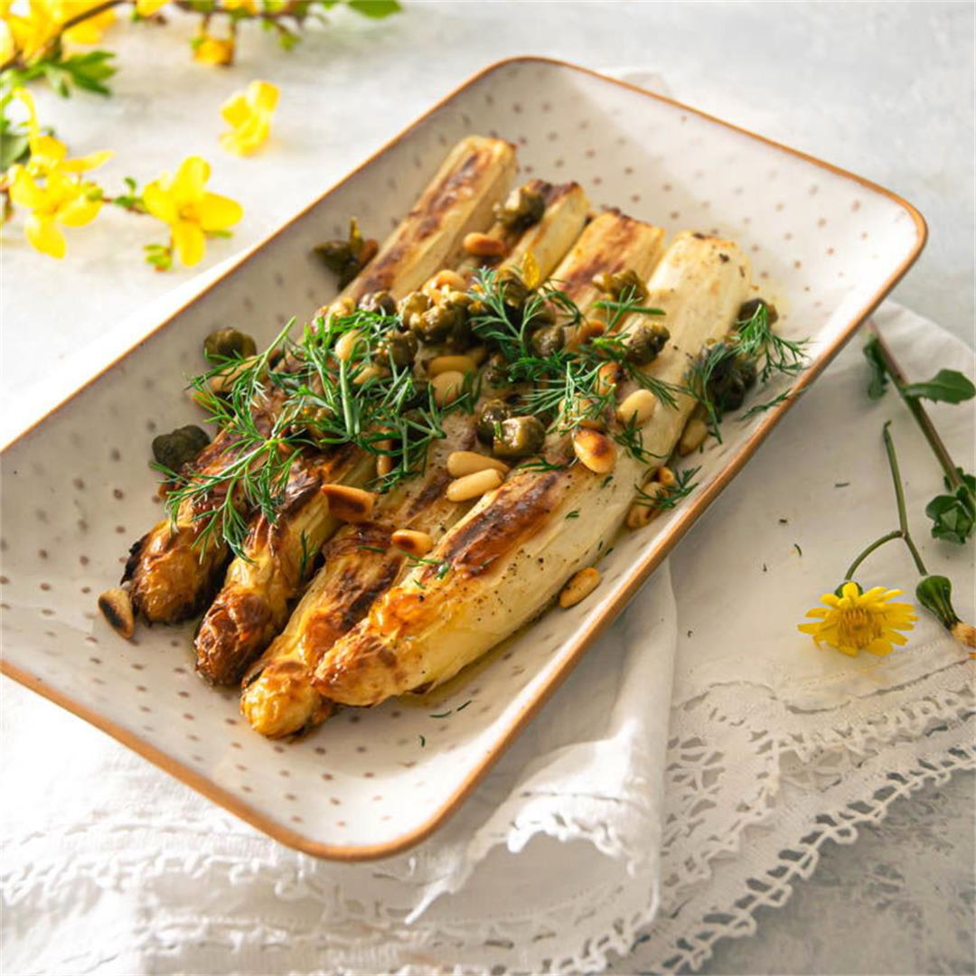 Roasted White Asparagus With Capers and Dill