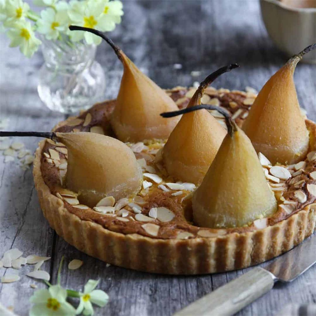 Poached Pear and Almond Cream Tart