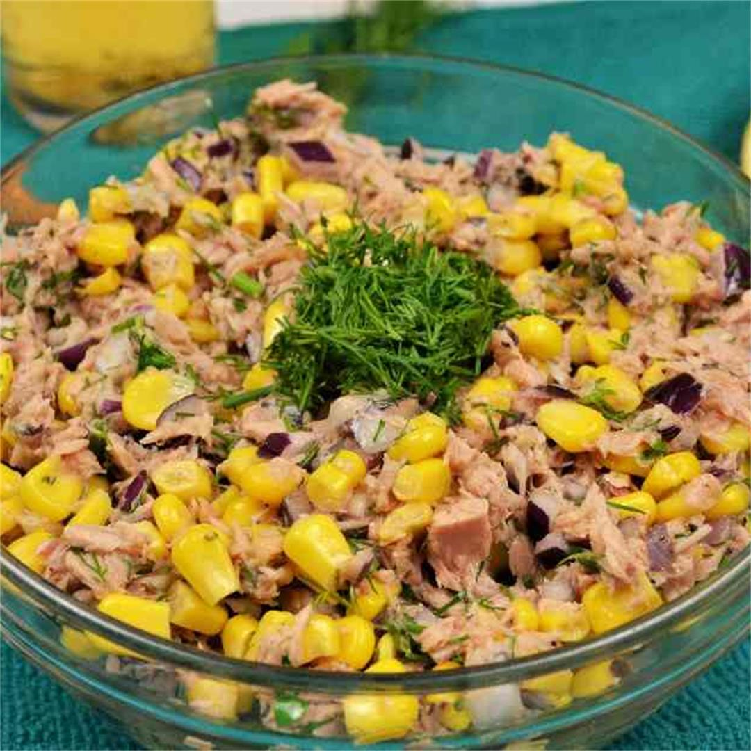 Easy Tuna Corn Salad Recipe-With Dill And Without Mayonnaise