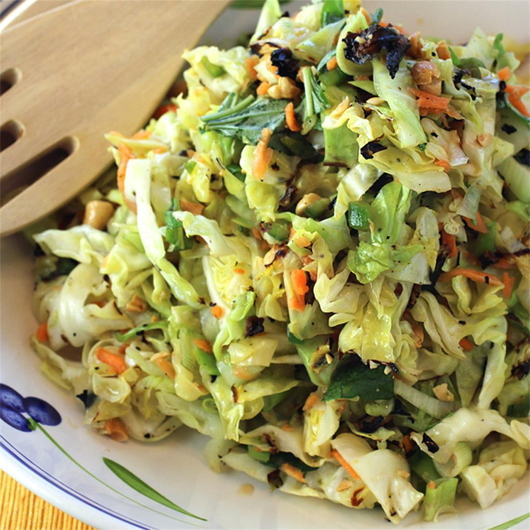 Grilled Cabbage Coleslaw with scallions, basil and peanuts