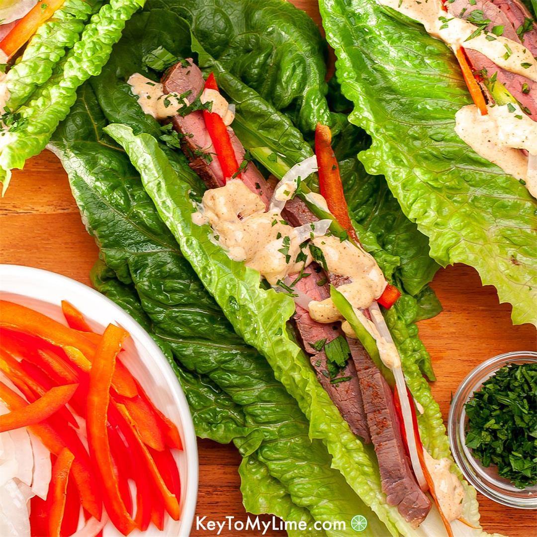 Flank Steak Lettuce Wraps with Cajun Aioli {VIDEO}