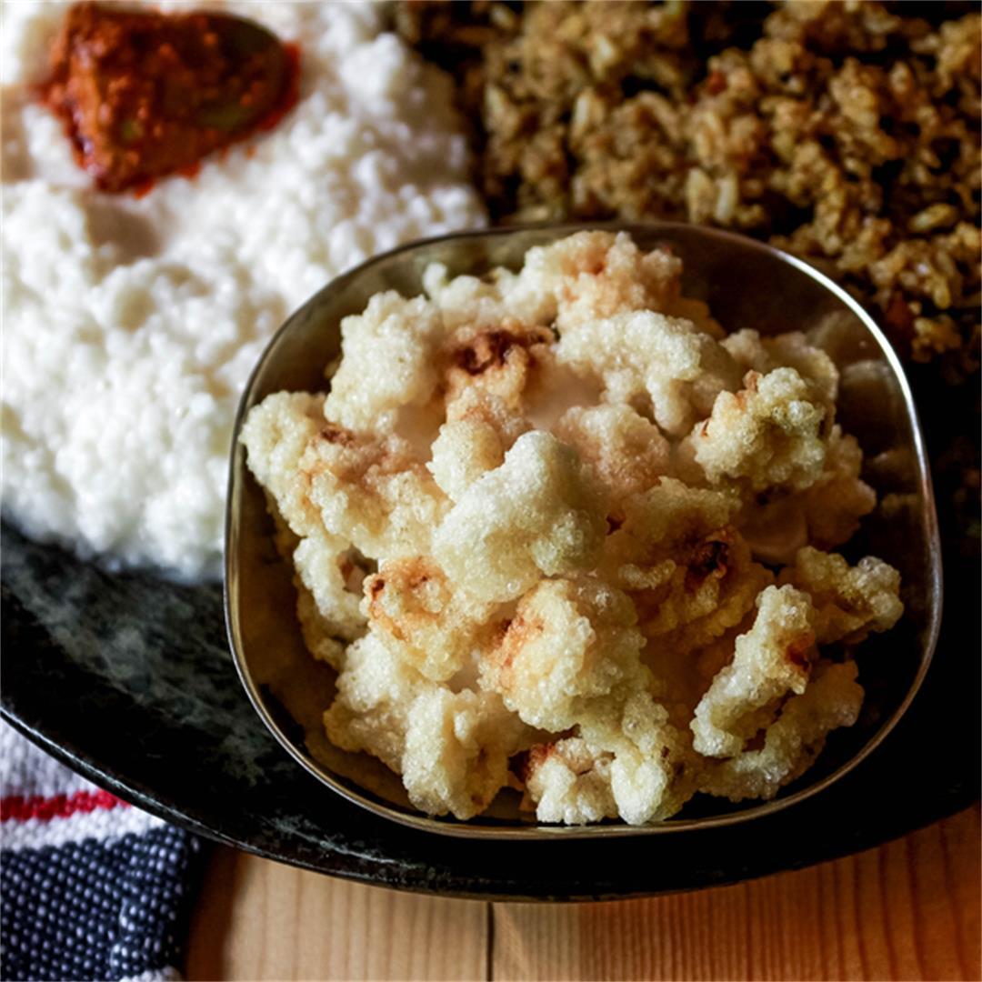 vengaya vadagam using left over rice recipe