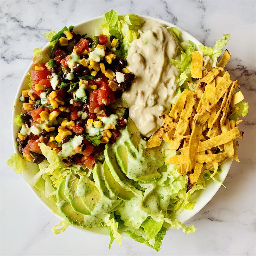 Vegan Mexican Salad with Cilantro Ranch Dressing