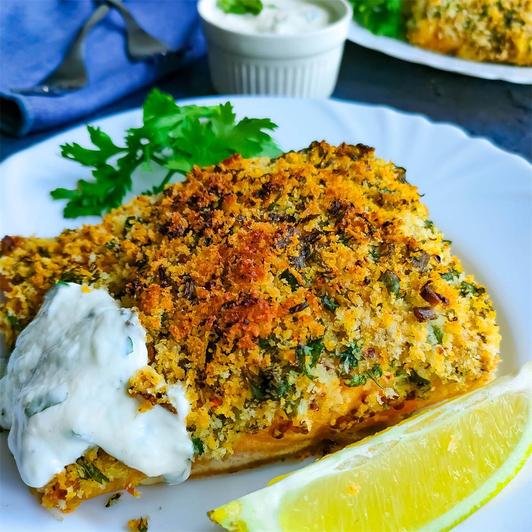 Baked fish with seasoned breadcrumb topping