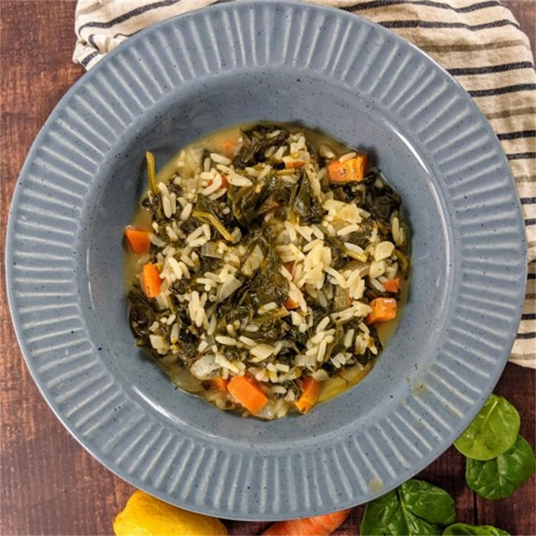 Spinach & Rice Stew - Greek Spanakorizo