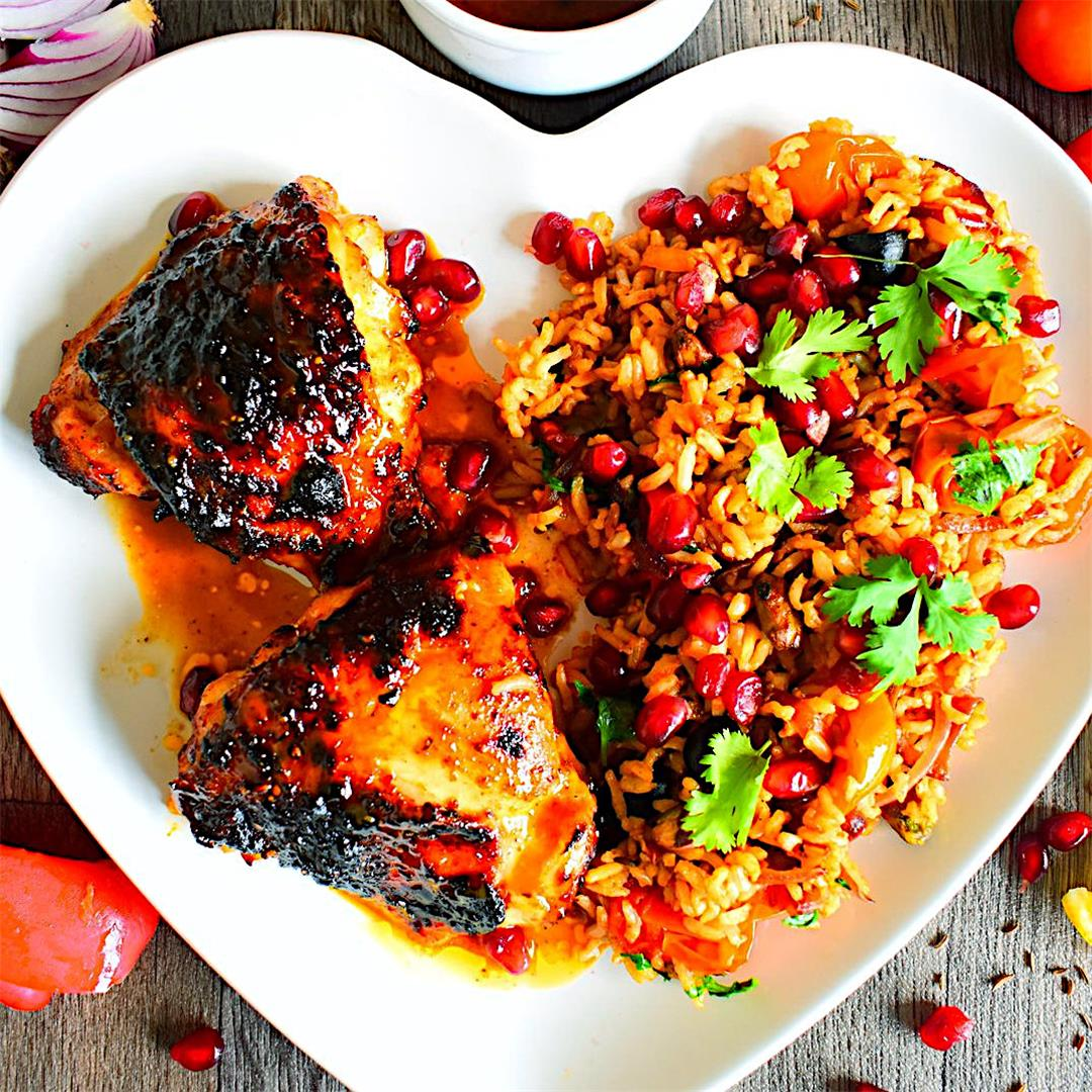 Harissa Sticky Chicken with Pistachios & Olive Pilaf