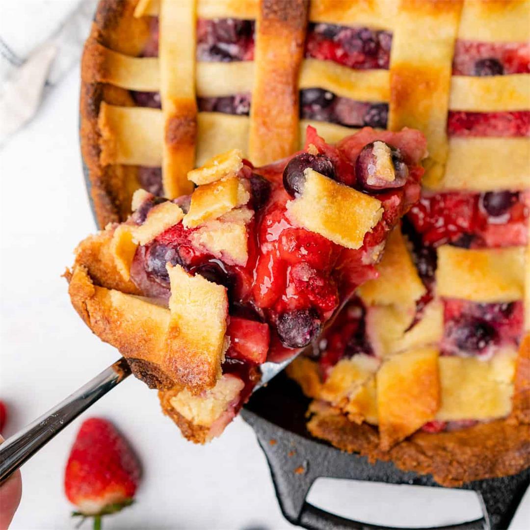 Strawberry Blueberry Pie (Low Carb, Gluten Free)