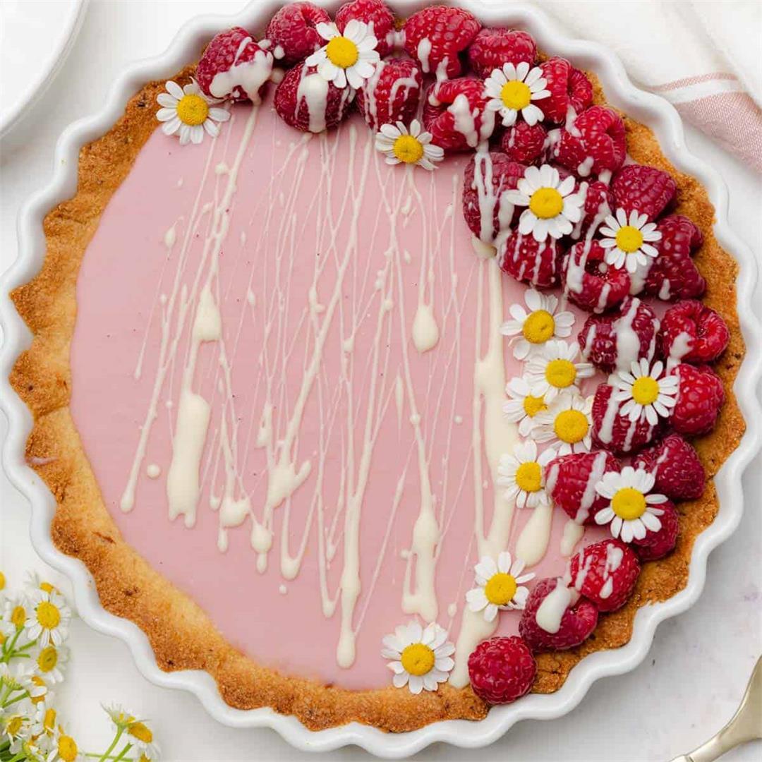 White Chocolate Raspberry Tart (Keto, Gluten Free)