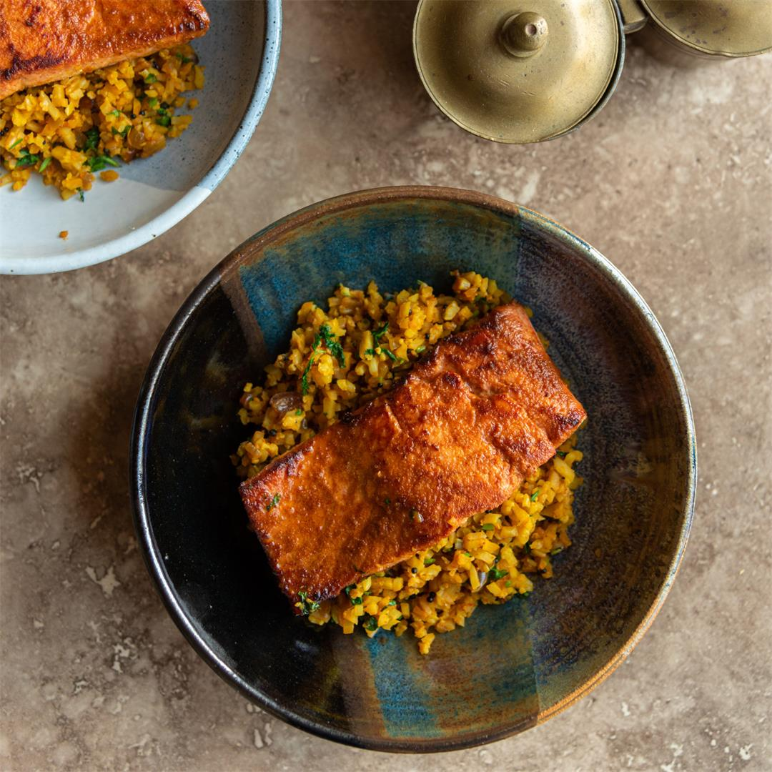 Pan-Fried Salmon with Spicy Cauliflower Rice