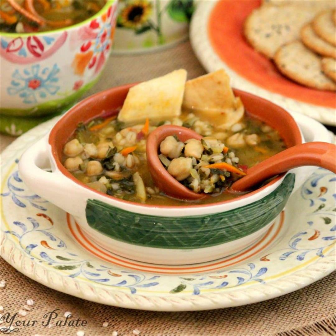 Chickpeas Vegetable Barley Soup Recipe