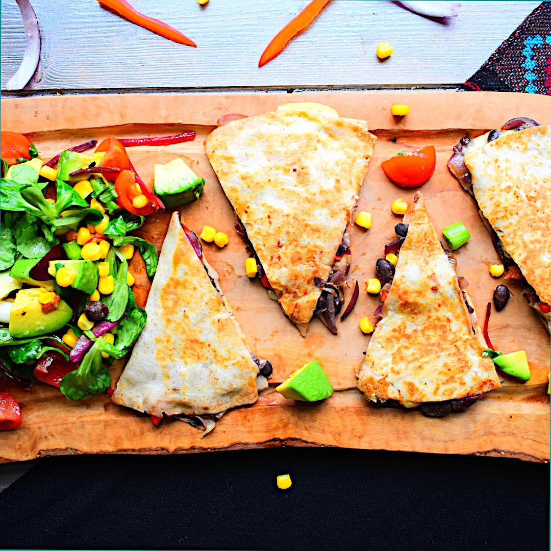 Black Bean Quesadilla with Mexican Salad