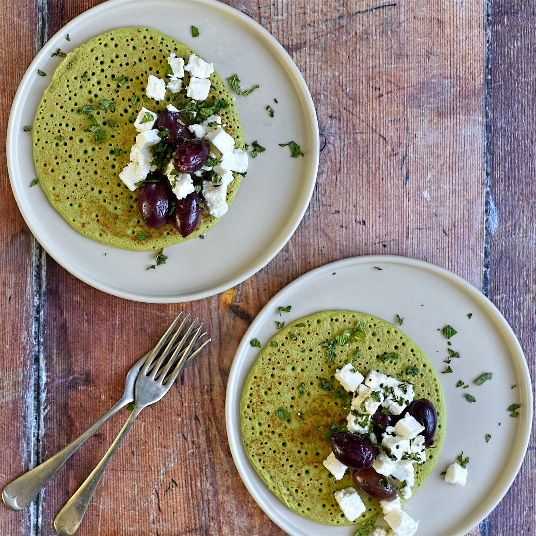 pea pancakes with feta, olive and mint