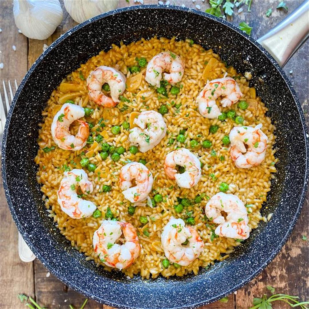 One-Pan Spanish Garlic Rice with Shrimp