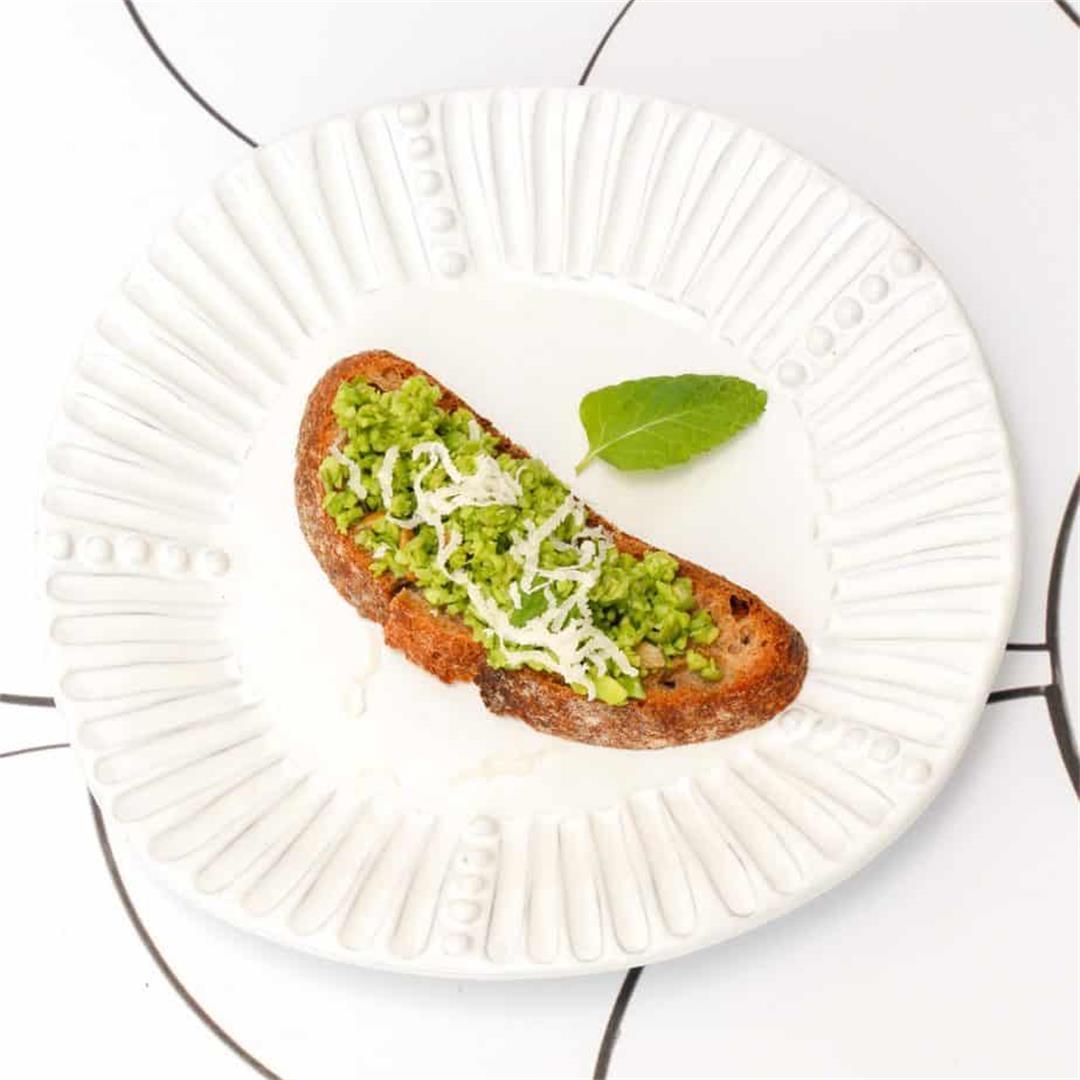 Vegan Pea Pesto with Mint Crostini