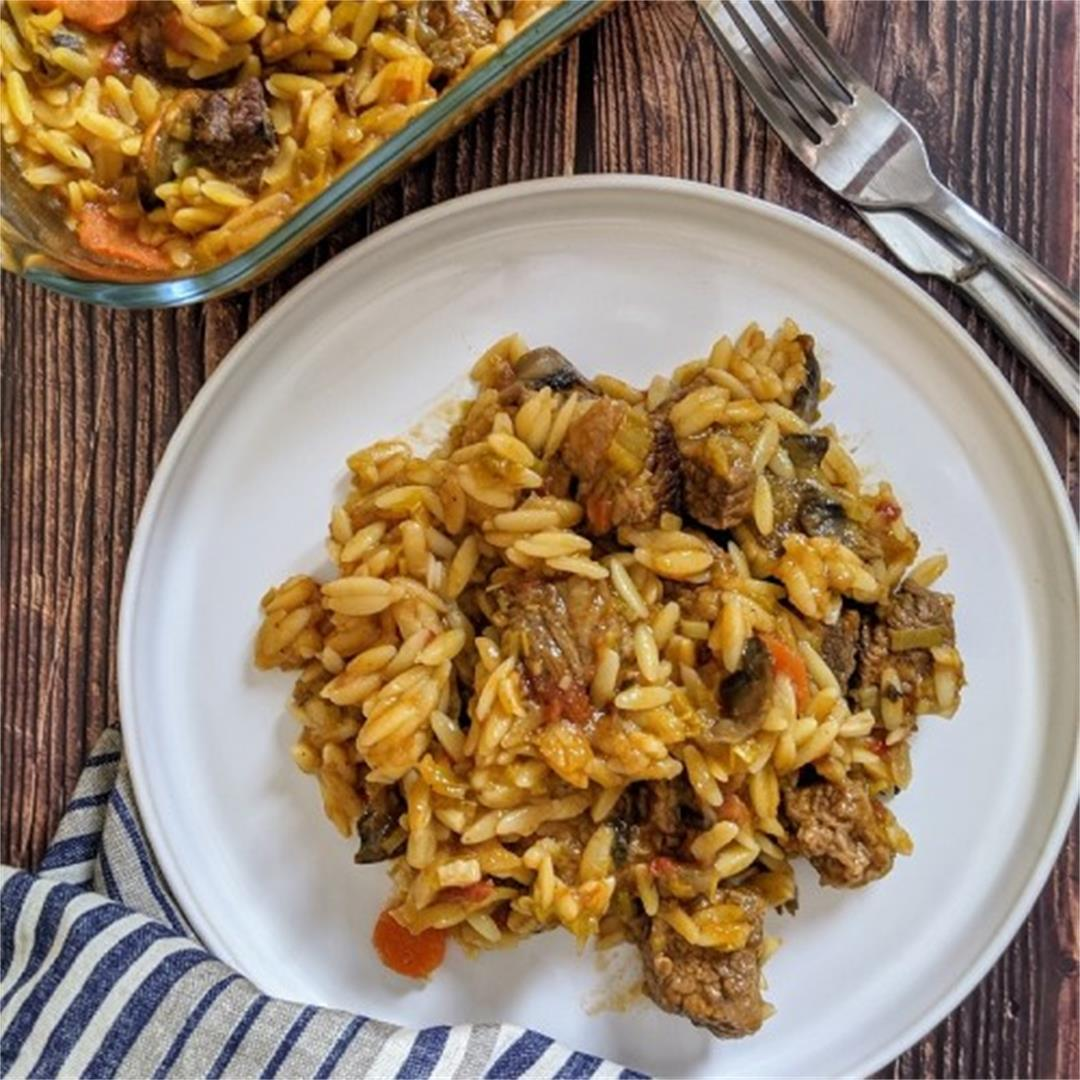 Beef and Orzo pasta Casserole