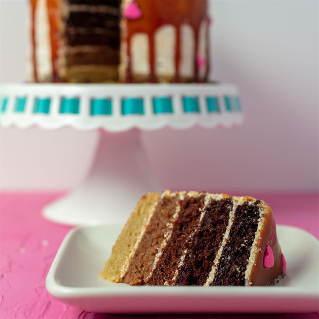 Chocolate and Caramel Ombré Cake