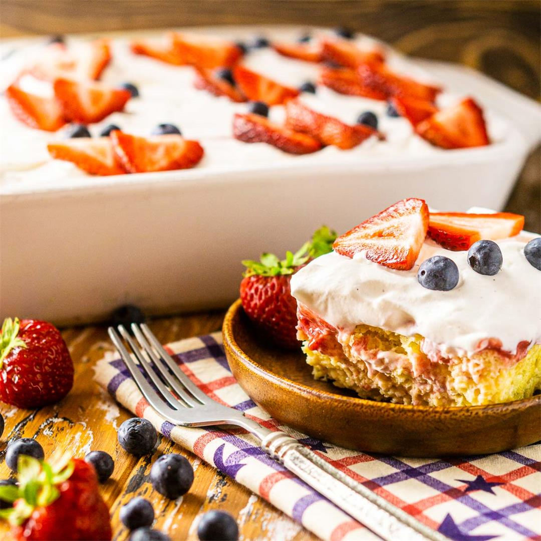 4th of July Poke Cake With Fresh Strawberry Filling