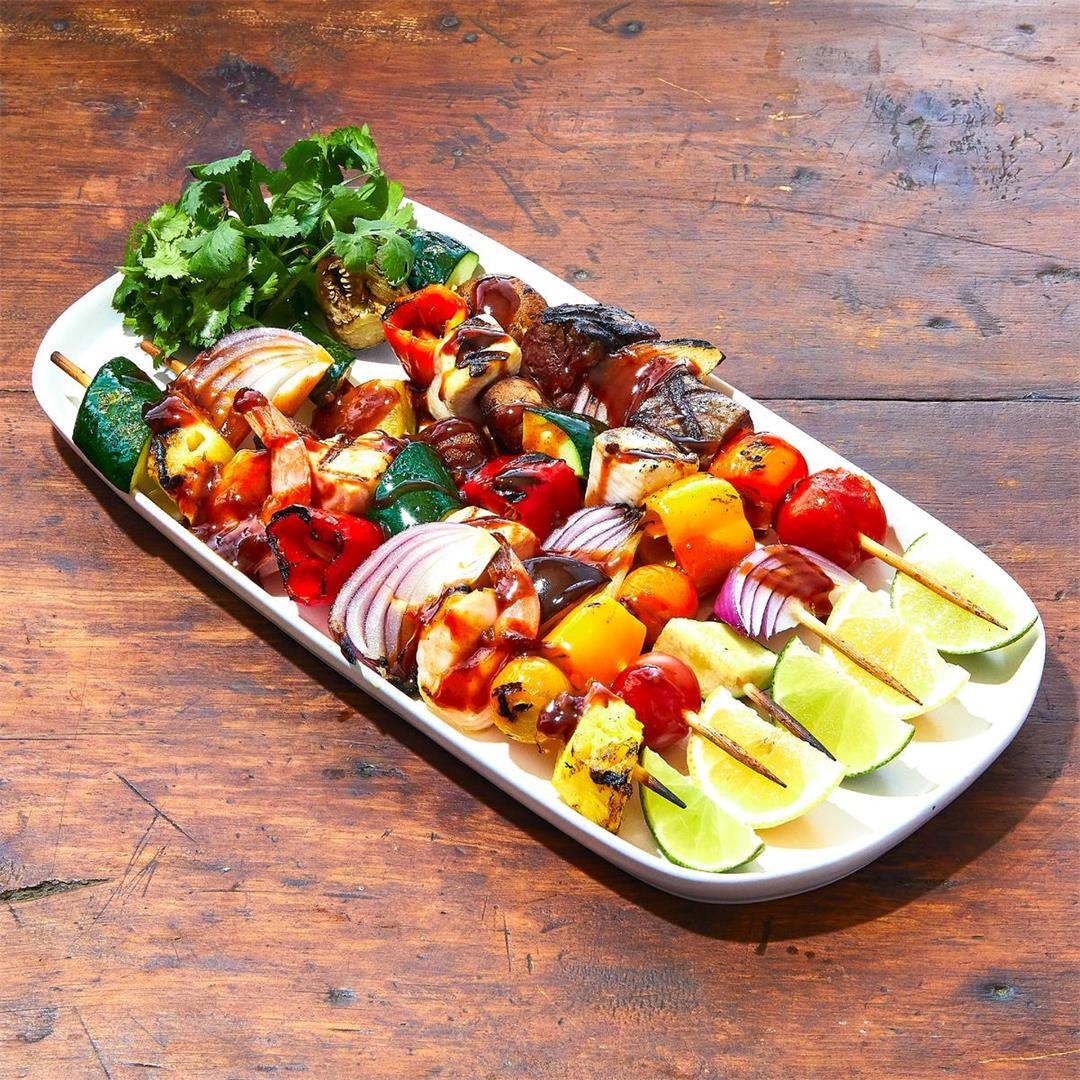 Grilled meat/fish/veggie skewers with 'nade for dipping