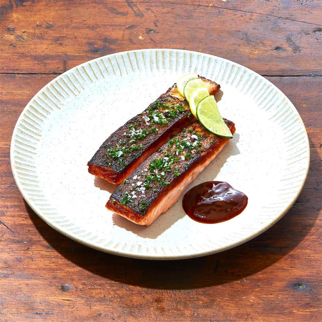 Seared salmon over quinoa